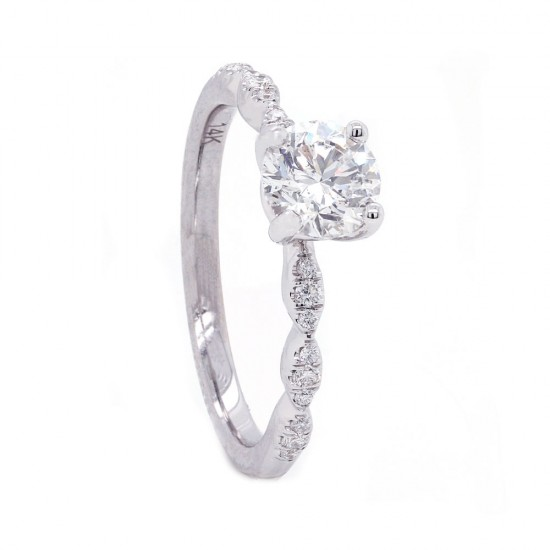 Delicate Scalloped Diamond Engagement Ring
