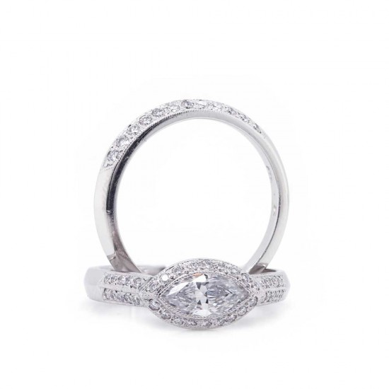 Sholdt design East-west marquise pave' halo wedding set