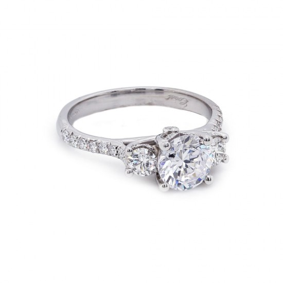 Three-stone round diamond pave' shank ring