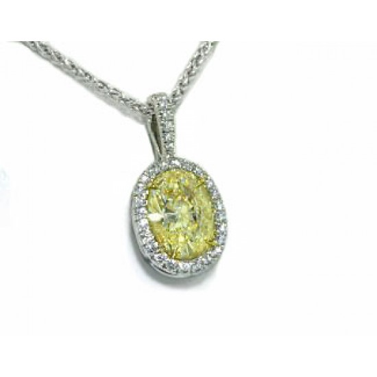 Light yellow oval diamond pave' halo pendant