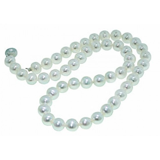 8-8.5mm round white freshwater pearls 18""