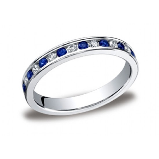 Channel sapphire and diamond eternity band