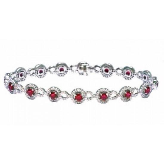 Ruby and pave' diamond white gold bracelet
