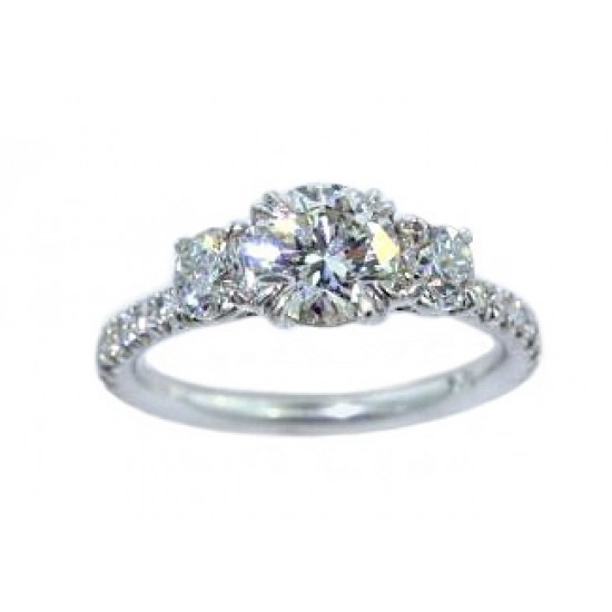 Three-stone round diamond pave' shank ring
