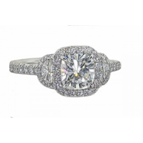 Cushion and half moon diamond pave halo ring
