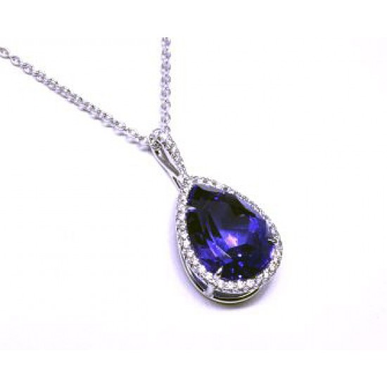 Pear Tanzanite pave' diamond halo pendant