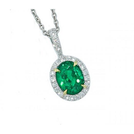 Emerald diamond pave' halo pendant in white gold