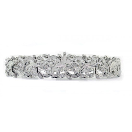 Floral design pierced filigree style bracelet