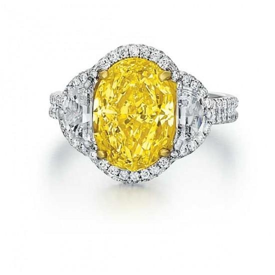 Fancy yellow oval and half moon diamond pave' ring