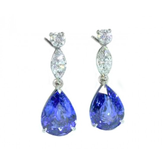5.07ctw pear sapphire and diamond drop earrings