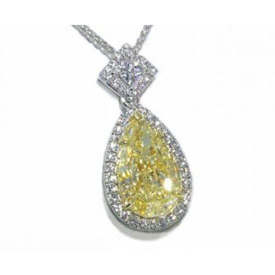 Fancy light yellow pear diamond pave' halo pendant
