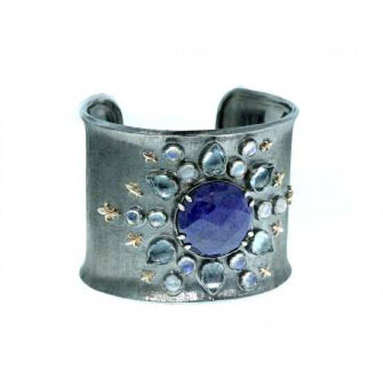 Sapphire, moonstone, an drose gold sterling cuff
