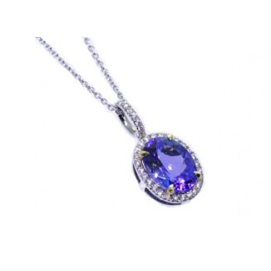 Oval tanzanite pave' diamond halo pendant in two-t