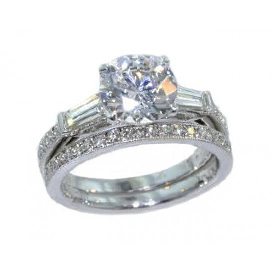 Baguette and pave' diamond wedding set