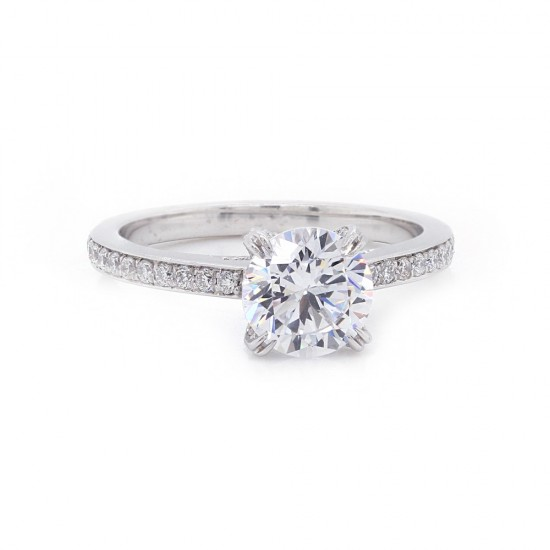 Bordered pave' fancy crown diamond ring