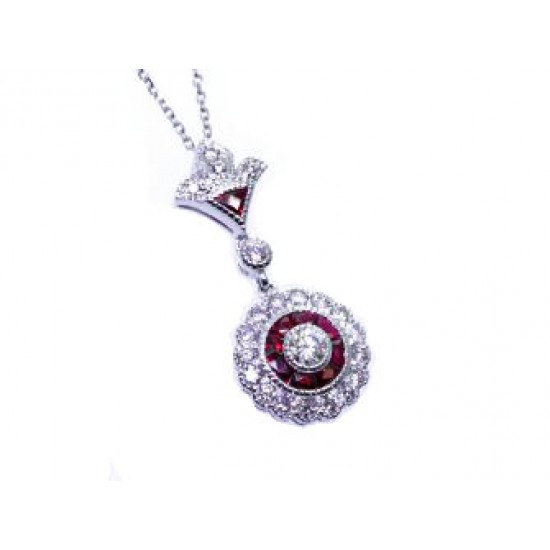 Ruby and diamond vintage design pendant
