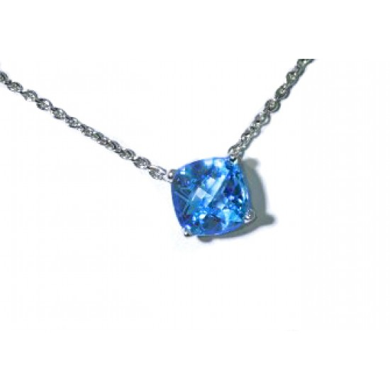 Blue topaz cushion solitaire necklace in white gold