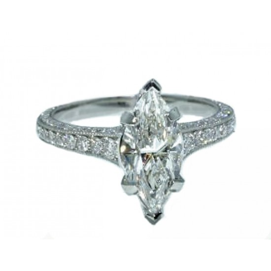 Marquise diamond pave' three-sided shank ring