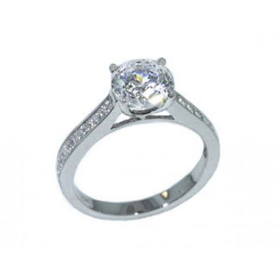 Channel set princess cut diamond ring