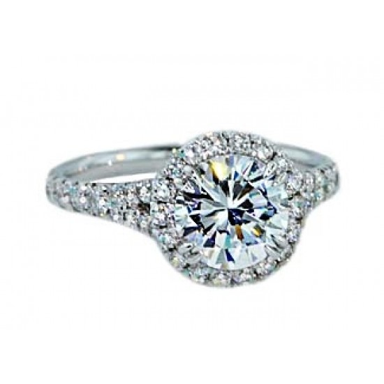 Pave halo narrow split shank diamond engagement ring