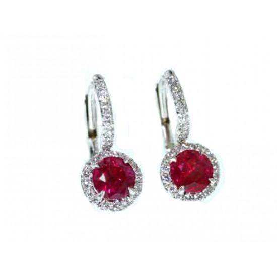 Ruby and pave' diamond halo dangle earrings 18k wg