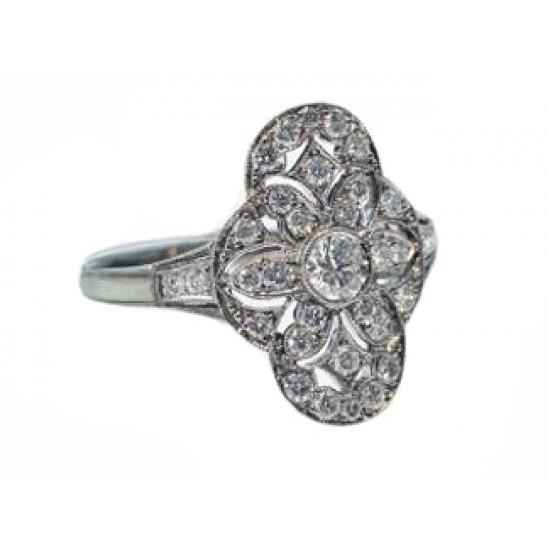 Antique design pierced floral pave' diamond ring