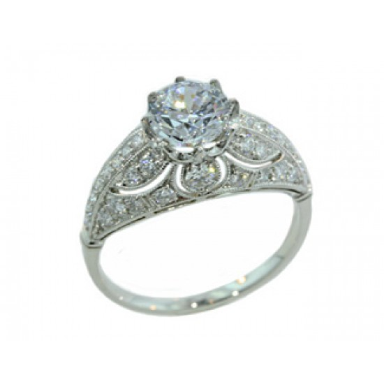 Pierced filigree domed vintage design pave' ring