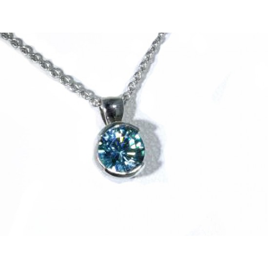 Blue zircon half bezel pendant in white gold