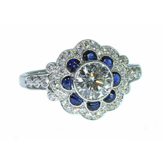 Bezel set diamond blue sapphire vintage milgrained