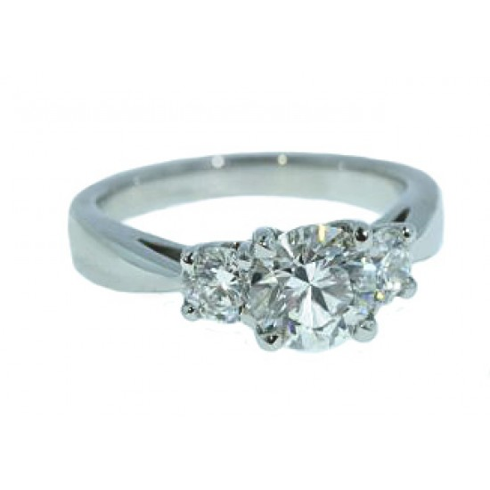 Three-stone 1.52ctw diamond ring in platinum
