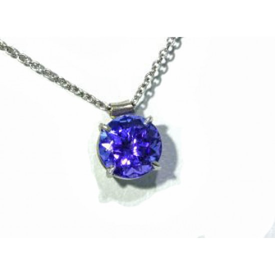 Round Tanzanite solitaire pendant in white gold