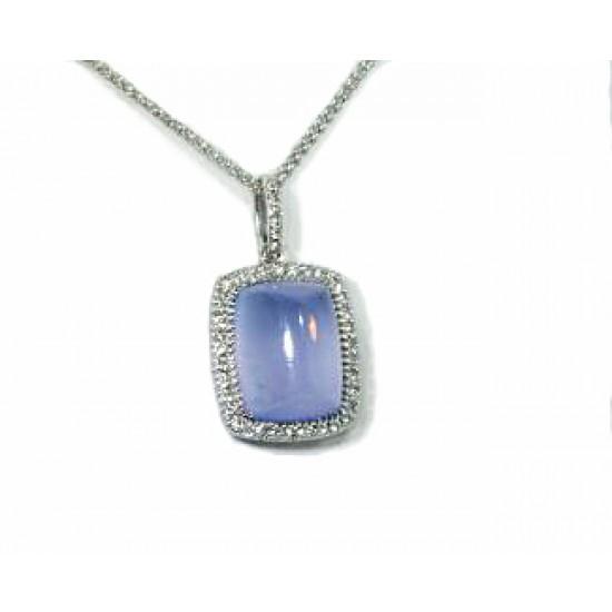 Periwinkle chalcedony pave' diamond halo pendant