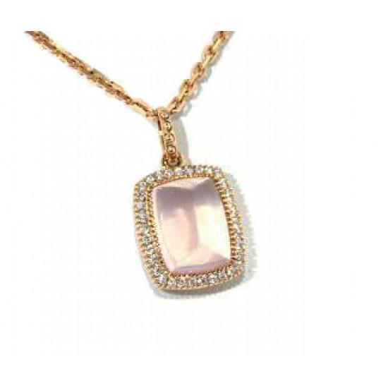 14k rose cushion quartz pave' diamond pendant