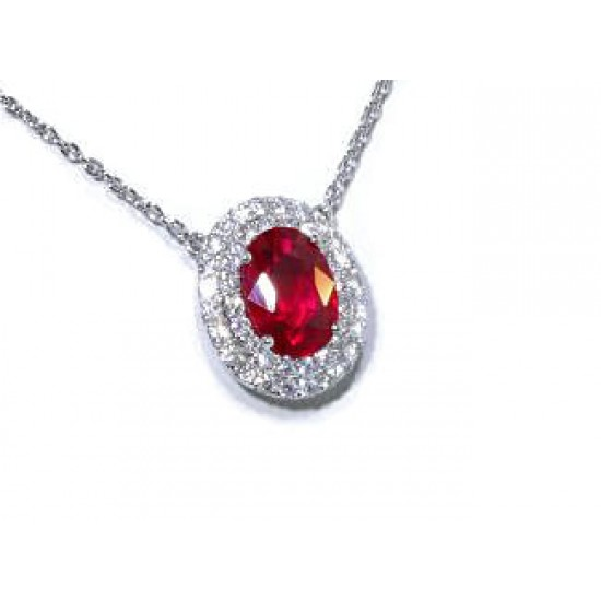 1.39ct oval ruby double pave' diamond halo necklace
