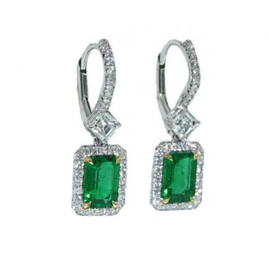 1.44ctw emerald asscher diamond pave' earrings