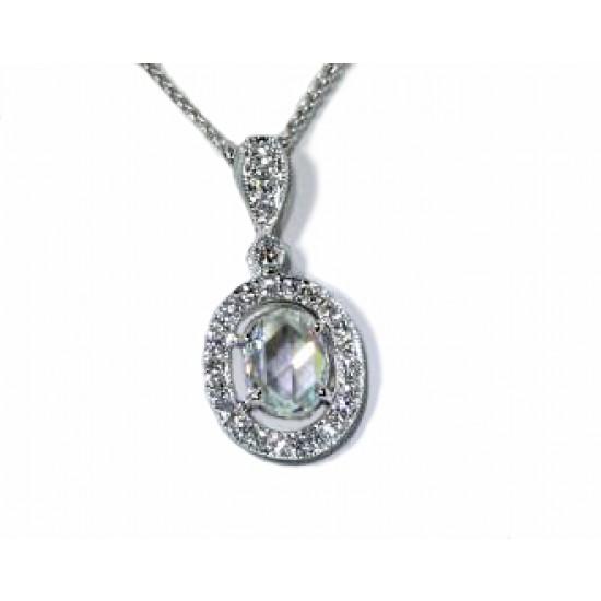 Oval rose cut diamond pave' halo pendant