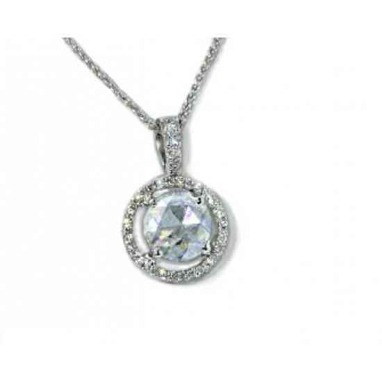 Round rose cut diamond pave' halo pendant