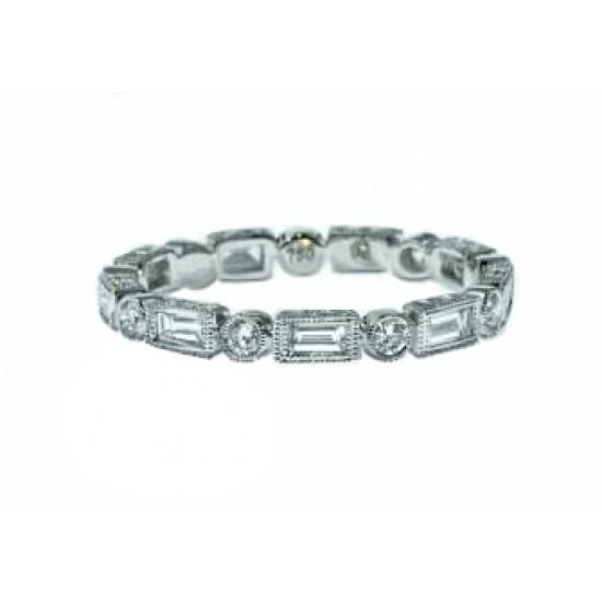 Bezel set baguette round diamond milgrained band