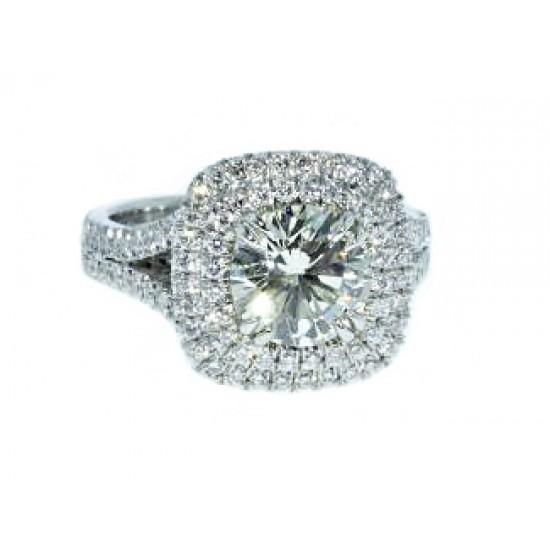 Custom double pave' halo split shank diamond ring