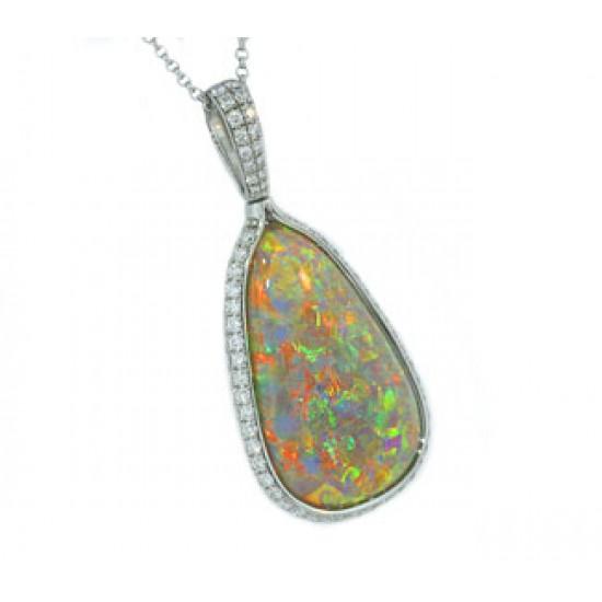 11.27ct teadrop black opal diamond pendant