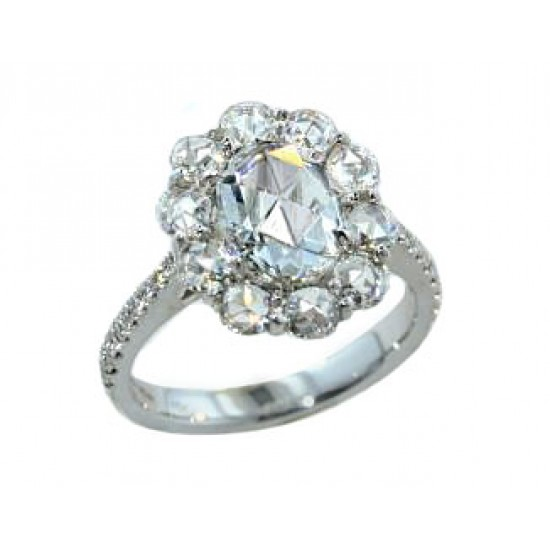 2.67ctw rose cut oval and round diamond ring