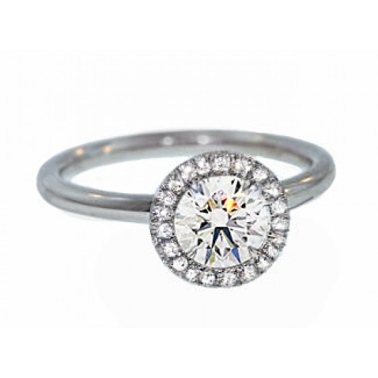 Handmade french pave' halo diamond solitaire ring