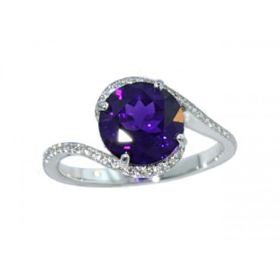 Amethyst and pave 'diamond bypass style ring