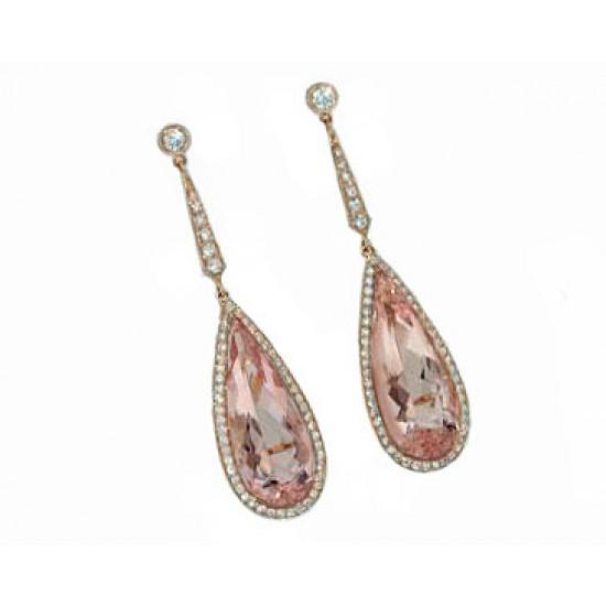 17.35ctw Morganite and pave' diamond 18krg earring