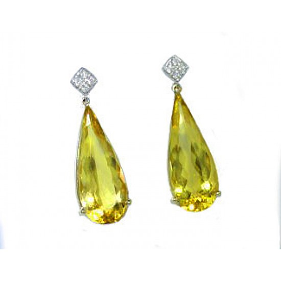 12.65ctw teardrop golden beryl earrings