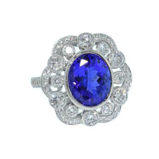 4.22ct Tanzanite and diamond heirloom style ring