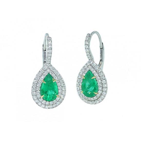 Handmade double pave' halo emerald pear earrings
