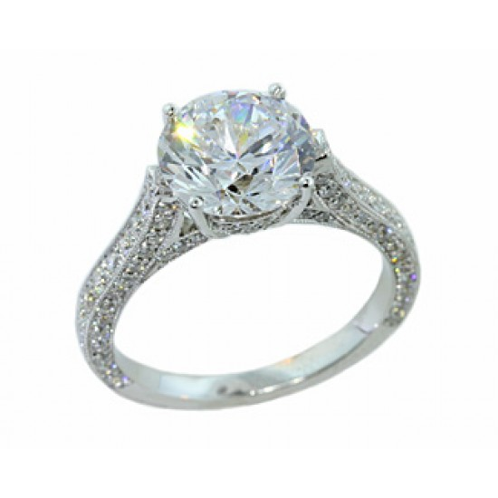 Three-sided bordered pave cathedral diamond ring