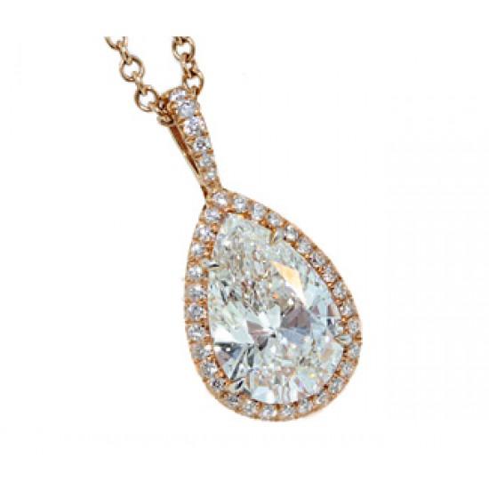 2.35ct pear diamond rose gold pave' halo pendant