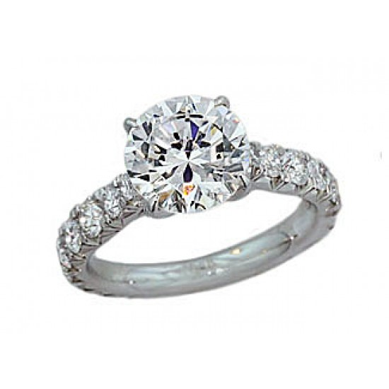 French pave' 3.5mm wide 1.23 ctw diamond ring